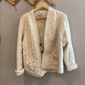 Vintage Irish wool Aran cardigan sweater